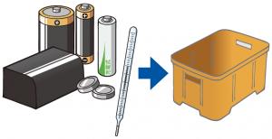 乾電池・水銀体温計捨て方イラスト